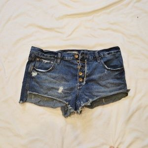 Free People button up cut off denim shorts